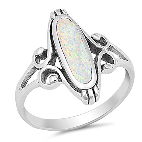 Long Wide Filigree Swirl White Simulated Opal Oval Ring .925 Sterling Silver Celtic Band Size 9