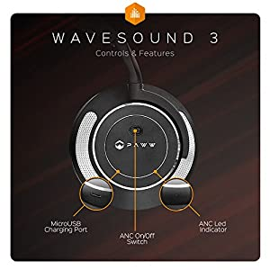 Paww WaveSound 3 Bluetooth Headphones – Active Noise Cancelling Headphones with Airplane Adapter, Charging Cable & Carrying Case – Foldable Travel Headphones/Over-Ear Headphones (Black) (black)