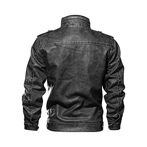 Hiver Osyard Veste Jacket Blousons Avec Automne Noir Similicuir Poche Moto Zippé En Maille Homme Gilet SqSwEzrT