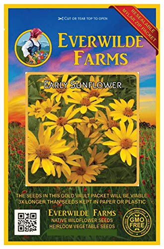 - Everwilde Farms - 1000 Early Sunflower Native Wildflower Seeds - Gold Vault Jumbo Seed Packet