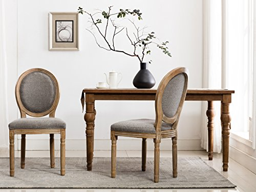 - French Dining Chairs, Distressed Elegant Tufted Kitchen Chairs with Carving Wood Legs & Round Back - Set of 2 - Gray