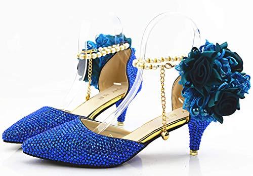 A Punta Scarpe Cristallo Sposa Da Donna Shiney Con Di Sandali Blu Alto Tacco 6cm fxqInXBF