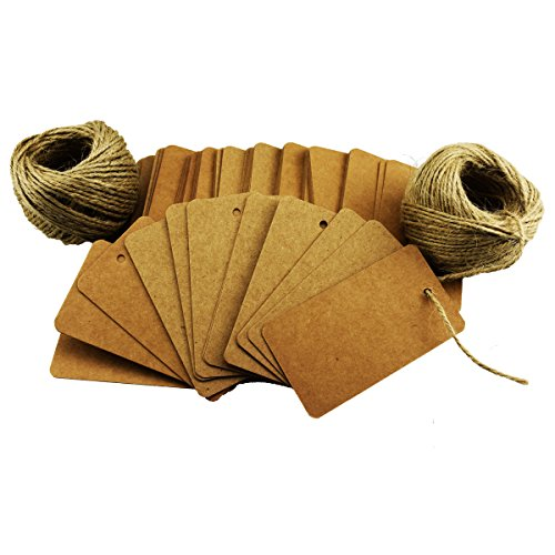100Pcs Khaki Escort Card Tag, Kraft Paper Gift Tags with 164ft Natural Jute Twine for Key Bottle Openers, Weddings, Parties and Special Events Decoration (Kraft Bottle)
