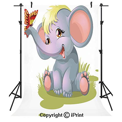 (Elephant Nursery Decor Photography Backdrops,Newborn Animal Mascot Puppet Yellow Hair Fun Happiness Butterfly Decorative,Birthday Party Seamless Photo Studio Booth Background Banner 10x20ft,Multicolor)