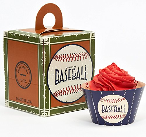 [Baseball Time Party Supplies - Cupcake Wrapper & Box Kit] (Costume Party Run Times)