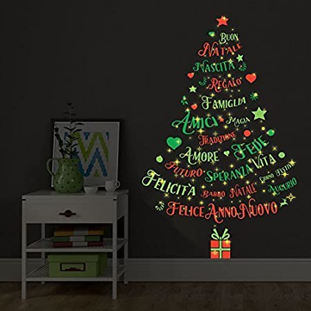 Christmas Decorations Wall Stickers Magic Glow In Dark Italian