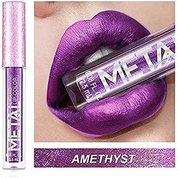 Metal Color Liquid Lipstick, Matte&Shimmer Long Lasting Waterproof Liquid Lip Gloss, Lip Makeup Cosmetic Lip Glosses (AMETHYST)