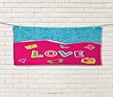 Anniutwo Love,Travel Towel,Valentine`s Day Themed Composition Torn Paper Effect Romantic Cartoon Elements,Quick-Dry Towels,Multicolor Size: W 14'' x L 27.5''