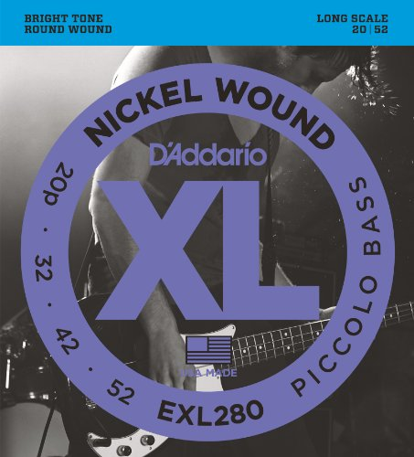 D'Addario EXL280 Nickel Wound Piccolo Bass Strings, 20-52, Long (Piccolo Bass Strings)