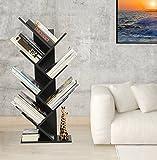 WSTECHCO 7 Shelf Tree Bookshelf Compact Book Rack Bookcase Display Storage Furniture for CDs, Movies & Books Holds Up To 7 Books Per Shelf (Black)