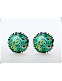 cufflinks-Silver plated Peacock Cuff links Accessories for men and women jewelry