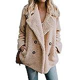 Women Winter Warm Fuzzy Coat Open Front Fleece Cardigan Outerwear Wrap with Pockets (Camel, XL)