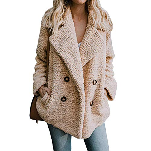 Women Winter Warm Fuzzy Coat Open Front Fleece Cardigan Outerwear Wrap with Pockets (Camel, L) (Button Jacket Front Fur)