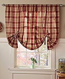 NEW Country Cafe Check Tie Up Bows Window Curtains BURGUNDY ..#G4E435T1 34452-3T388714