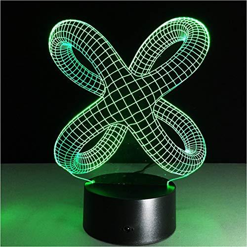 3D luces de la noche noche noche abstracta llevó la batería de mesa del escritorio de la batería del Usb 7 que cambia de color para la lámpara del humor de la decoración del dormitorio de los niños del bebé 8ee168