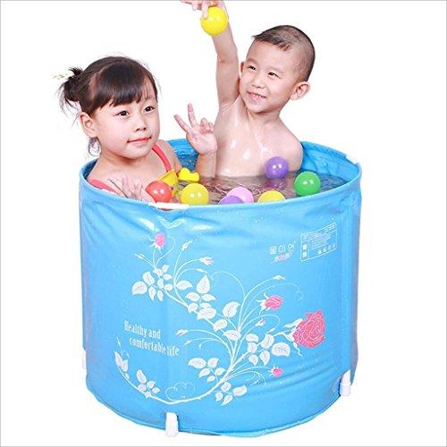 Bañera Plegable Bañera de Cubo Plegable Azul Barril de Baño de plástico Grueso Cubo de Baño para bebé Barril de Baño...