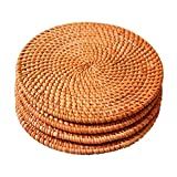 """Woven Trivet for Hot Dishes-Insulated Hot Pads,4 Pcs Unique Present for Friends,Housewarming,Birthday,Living Room Decor,Holiday Party, (7.08"""" Round)"""