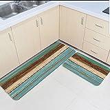 Infinidesign Non-Slip Kitchen Mat Doormat Runner Bathroom Rug 2 Piece Sets - Wood Grain Runner Carpet Set - 23.6''x35.4''+23.6''x70.9''