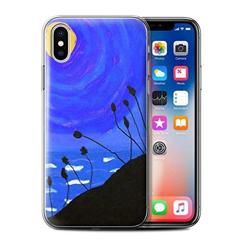 Stuff4 Gel TPU Hülle / Case für Apple iPhone X/10 / Blau Muster / Sonnenuntergang Ölgemälde Kollektion