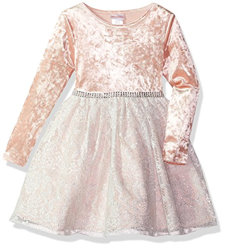 Youngland Girls' Toddler Velvet to Lace Party Dress, Pink/Ivory 2T