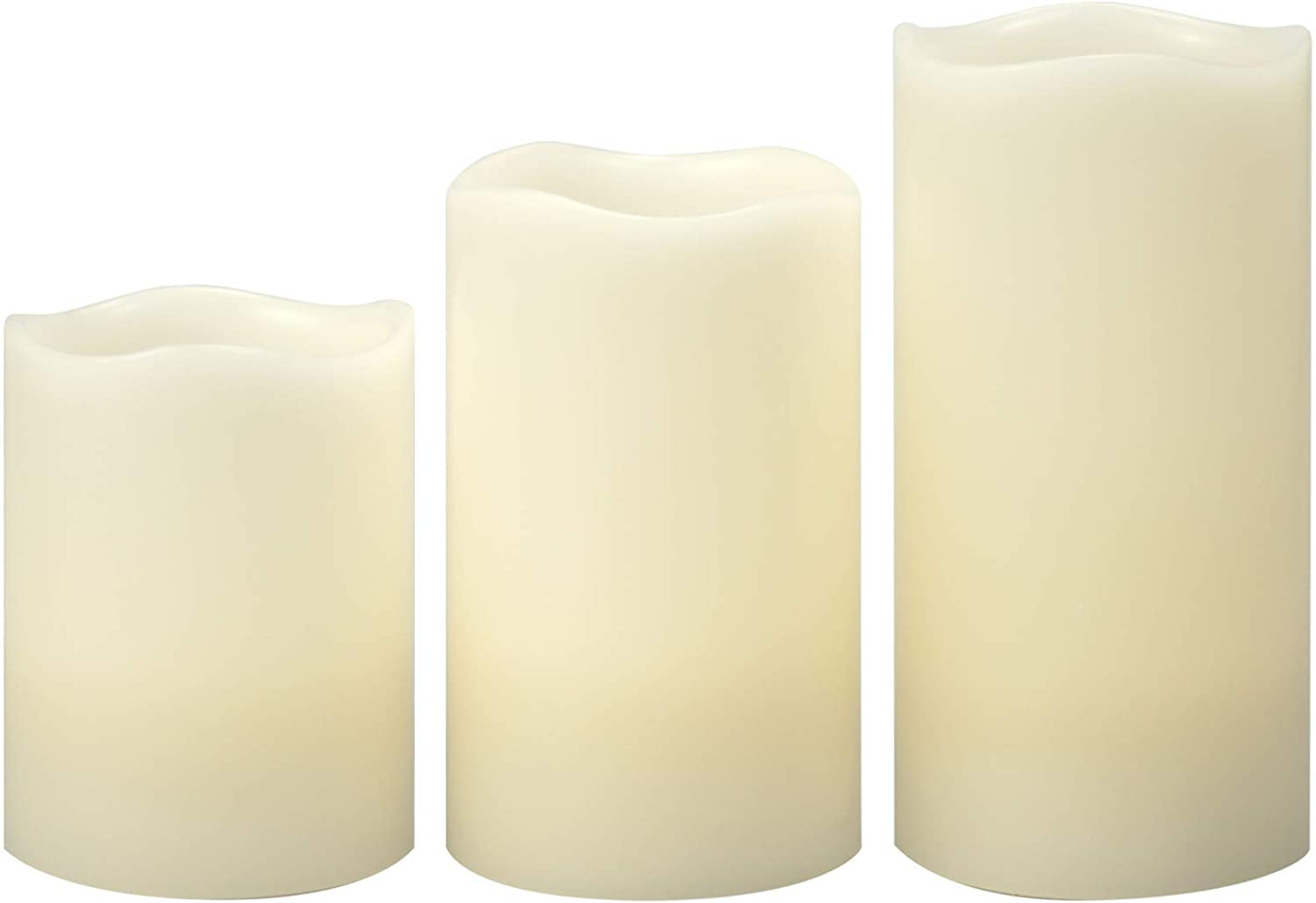 Battery Operated Flameless Candles with Timer Real Wax Realistic Flicker Flickering Bright Electric Electronic LED Pillars Automatic Lights for Home Décor Wedding Party Christmas Decorations Set of 3