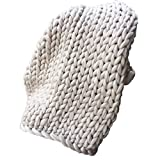Chunky Knitted Blanket, AMA(TM) Thick Wool Bulky Knitting Throw Blankets Rug Sofa Bedding (39.4X47.3'', Beige)