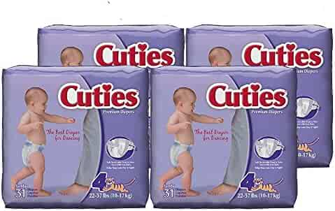 Cuties Baby Diapers, Size 4, 31-Count, Pack of 4