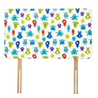 Ready Steady Bed Monsters Aliens Design Children's Single Headboard 3ft Bed Size Foam Upholstered