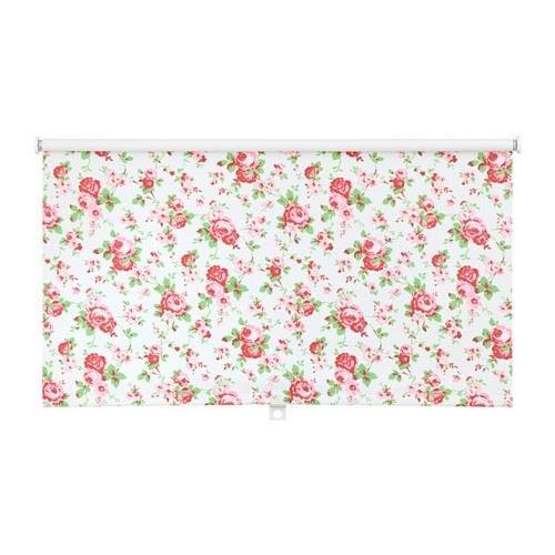 DISKODANS - Roller blind, floral patterned, white
