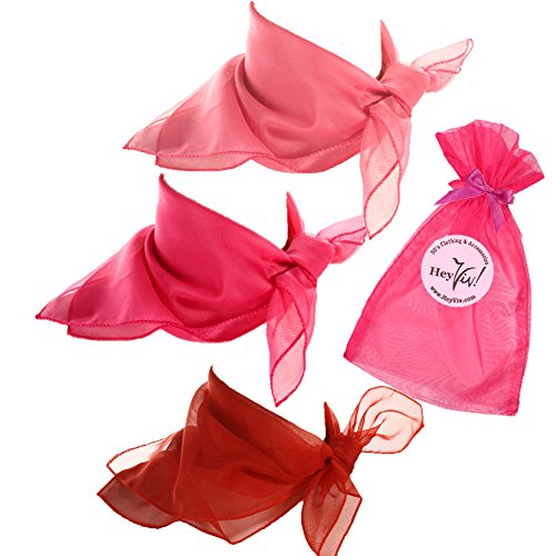 Pink, Rose Pink, and Red Sheer Chiffon Scarves - Valentine Sweetheart Scarf Set