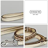 "COACH Mini Signature Leather Dog Leash FS8838 Limited Edition - Gold/Khaki, Large (1"" Wide)"