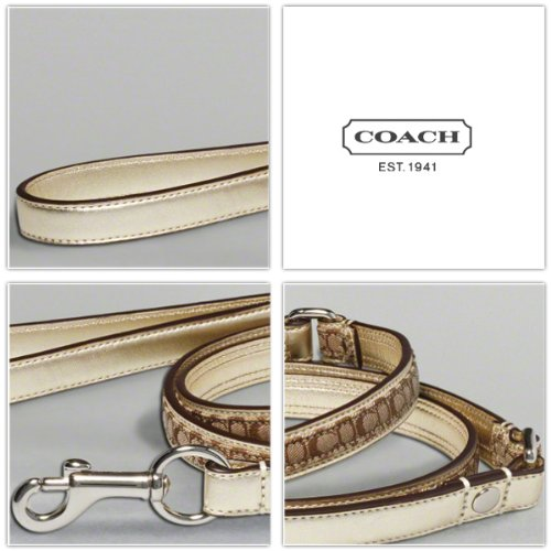 "COACH Mini Signature Leather Dog Leash FS8838 Limited Edition - Gold/Khaki, Small (5/8"" Wide)"