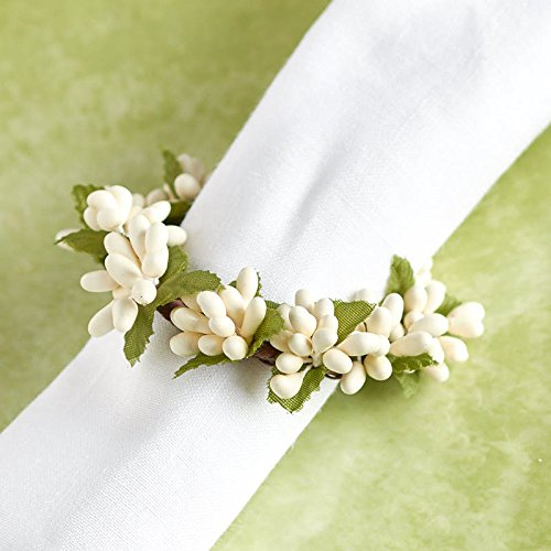 Factory Direct Craft Plump Cream Pip Berry Candle Napkin Rings Group of 4 Rings