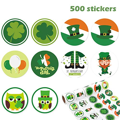 Whaline 500 St Patrick's Day Stickers Roll Assortment, Shamrock Leprechaun Self Adhesive Label for St Patrick's Day Craft Supplies, Party Favors, Present Gift Decoration, 5 Rolls]()