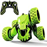 Threeking Rc Stunt Car Remote Control Off-Road Truck Double Sided Tumbling 360 Degree Rotation 3D Deformation Dance Car 1:28 2.4Ghz Rechargeable Stunt Car Great Gift for Kids - Green