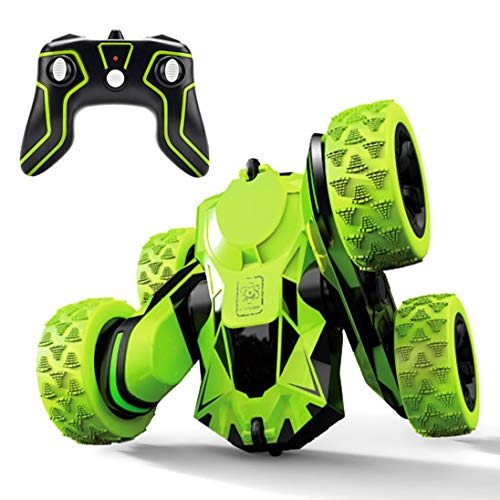 Threeking Rc Stunt Car Remote Control Off-Road Truck Double Sided Tumbling 360 Degree Rotation 3D Deformation Dance Car 1:28 2.4Ghz Rechargeable Stunt Car Great Gift for Kids - Green ()