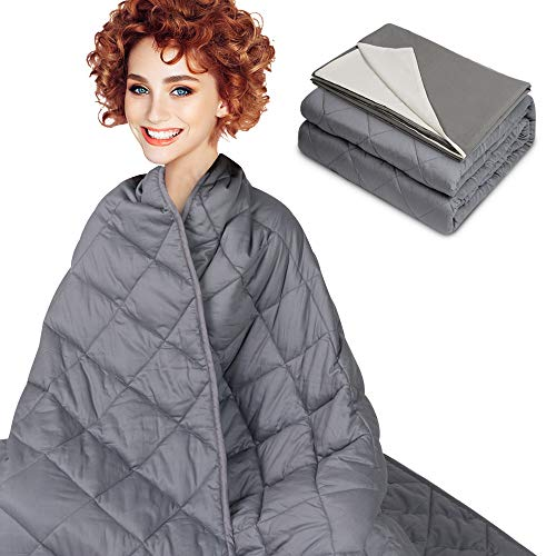 Cheap Weighted Blanket & Removable Cover (15 lbs Queen Size) for Individual 100-180 lbs Adult Kids 100% Cotton Heavy Blankets with Premium Glass Beads Enjoy Natural Deep Sleep (Grey 48 x72 ) Black Friday & Cyber Monday 2019