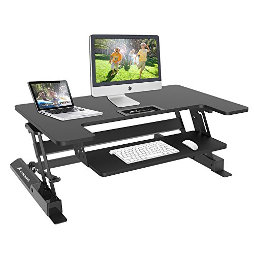 Inmount Height Adjustable Standing Desk / Elevating Desktop Workstation Converter / Sit Stand Up Desk / Fit Dual Computer Monitor Laptop Riser / support 44 Lbs (Black) by Inmount