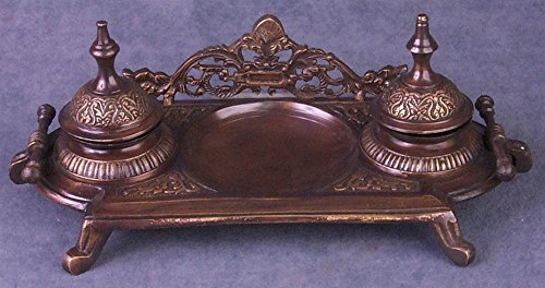 Importing Antique Brass - Double Inkwell in Brass Finish