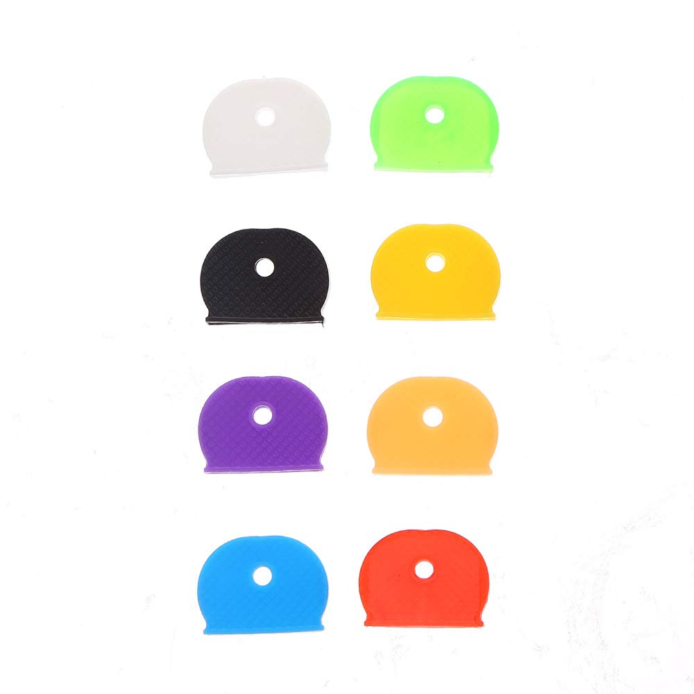 8 Colors SULOLI 32 Pieces Key Covers Set Plastic Key Identifier Ring