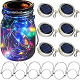 solar mason jar lid lights, 6 pack 20 led string fairy star firefly jar lids lights,6 hangers