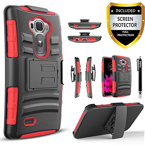 LG G Flex 2 Case, Combo Shell Cover Kickstand with Built-in Holster Locking Belt Clip+Circle(TM)Touch Screen Pen And Screen Protector (Red)