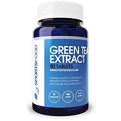 Sports Food Pure Green Tea Extract - 98% Polyphenols 50% EGCG Fat Burner - 1000mg x 90 Pills - Natural Cleanse and Increase Weight Loss - Organic Caffeine for Natural Energy and Detox Booster