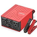 VOLTCUBE 400W Power Inverter, 12V DC to 110V AC Car Adapter with Twin 2.4A USB Ports and Two Independent AC Outlets (Red)
