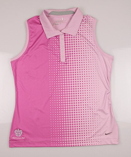 Nike Women's Faded Dot Sleeveless Polo - Large - LT Arctic Pink/Red Violet