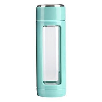320ml Botella de Aislamiento de Vidrio, Creativo de Té/Café,Botella Transparente de Agua, Doble Capa al Aire Libre (Color : Azul) : Amazon.es: Deportes y ...
