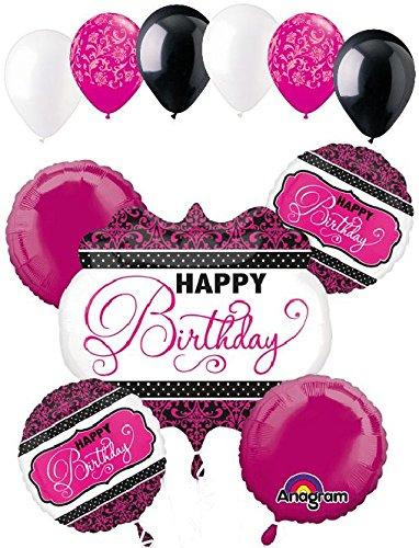 11 pc Pink Black & White Damask & Dots Balloon Bouquet Decoration Happy Birthday -