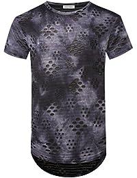 Mens Hip Hop Round Hemline Hole Stripe Hipster Curve Hem T Shirt