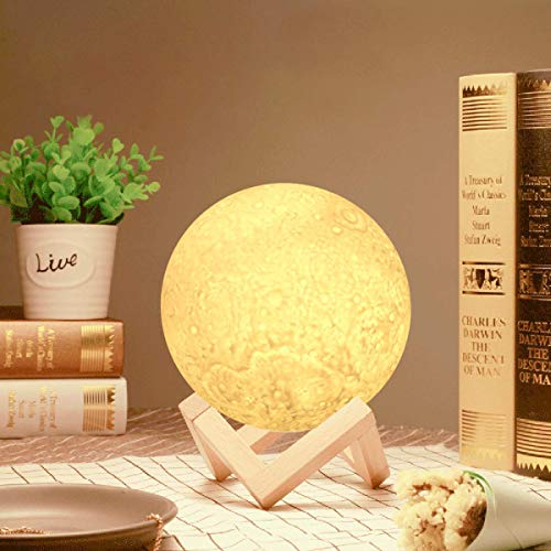 Moon Light Lamp,GreenClick 3D Moon Lamp for Kids,Dimmable 3 Colors Lunar Lamp Light with Stand,Touch Control 3D Printed Decorative Moon Night Lights for Birthday/Lover/Friends Gift (5.1inch)