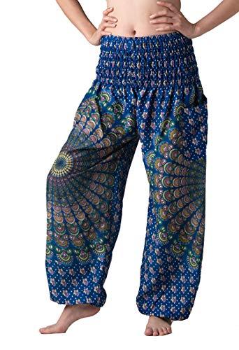 (Bangkokpants Women's Boho Pants Hippie Clothes Yoga Outfits Peacock Design One Size Fits (Blue Shinepeacock))